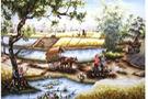 Tranh thêu chữ thập Cây đa làng DLHY222139.