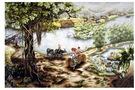 Tranh thêu tay Cây đa làng 2, DLHY222138.