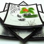 Bộ ba đĩa cắt sơn mài vẽ cảnh đồng quê