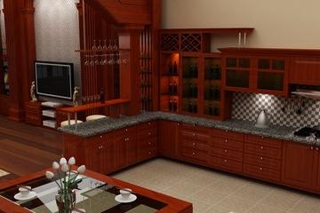 MSP059: Mẫu tủ bếp gỗ tự nhiên sồi mĩ  vân gỗ sang trọng