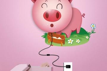Đèn Led 3D dán tường hình chú lợn hồng
