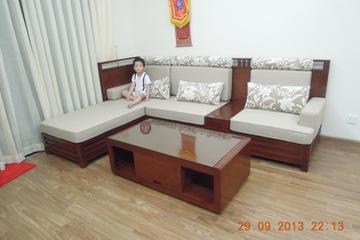 Sofa  gỗ tự nhiên  khung đệm nỉ    bàn trà