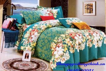 Chăn ga Hưng Thinh chất liệu Coton Nhung HT