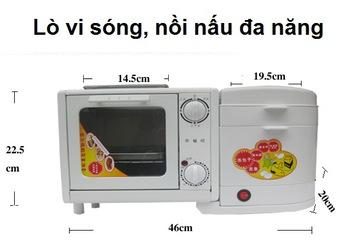 Máy làm thức ăn nhanh mini 4 trong 1: Hấp Luộc Chiên Nướng