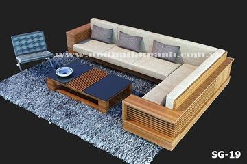 Sofa gỗ góc, sofa gỗ tự nhiên. Nội thất Kim Anh