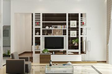 thiết kế nội thất, kệ trang trí gỗ, kệ ti vi, nội thất phòng khách, phòng khách kdh design