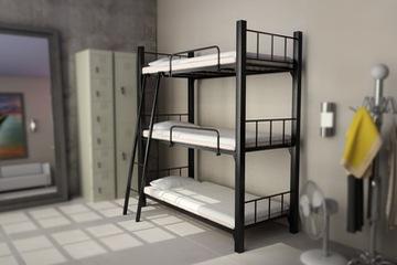 Giường 3 tầng Sắt hộp vuông kết hợp 3 hộp đựng đồ