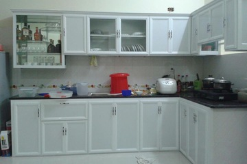 Tủ bếp nhôm trắng sứ Đức Thành