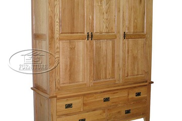 Tủ áo gỗ sồi   3 cánh 5 ngăn kéo