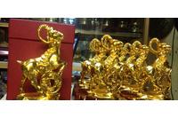 Qùa tặng dê đồng mạ vàng 16,26cm - quà tặng năm ất mùi niên.