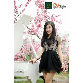 Váy ren chân voan ( MS V1003) : 220k màu: đen và đỏ mận thắt lưng nơ đính ngọc 50k mua sắm online Thời trang Nữ