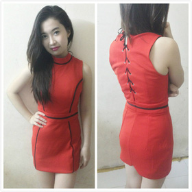 Đầm viền da thắt dây sau lưng mua sắm online Thời trang Nữ