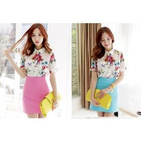 SM937: Ivory/ F, L - Áo sơ mi họa tiết công sở Hàn Quốc mua sắm online Thời trang Nữ
