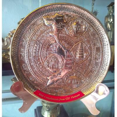 Đĩa đồng quà tặng, đĩa bản đồ Việt Nam quà tặng văn hóa viẹt