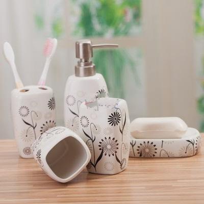 Bộ để đồ nhà tắm 5 thiết bị hoạ tiết hoa Nhật Bản