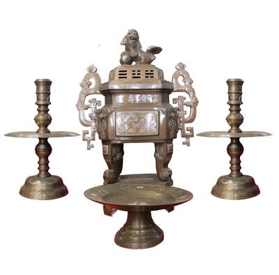 Đồ thờ đồng tam khí đỉnh đồng hac đồng khảm bạc ngũ sự,tam