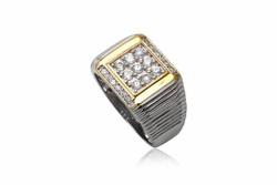 Ảnh số 3: TrangsucLUNA Nhẫn nam đính kim cương nhân tạo xi phủ vàng trắng vàng tây 18k - Giá: 1.090.000