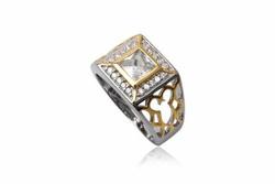 Ảnh số 7: TrangsucLUNA Nhẫn nam đính kim cương nhân tạo xi phủ vàng trắng vàng tây 18k - Giá: 1.130.000