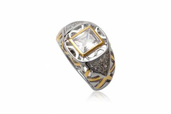 Ảnh số 11: TrangsucLUNA Nhẫn nam đính kim cương nhân tạo xi phủ vàng trắng vàng tây 18k - Giá: 1.190.000
