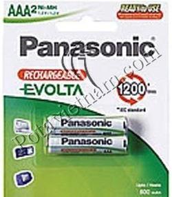 Ảnh số 5: Pin sạc điện, Pin đũa AAA, Pin NiMH, Pin 1.5V, Pin 800 mAh, Pin sạc Panasonic EVOIA HHR-3MRT/2B (1 Vỉ/ 2 viên pin sạc) - Giá: 209.000