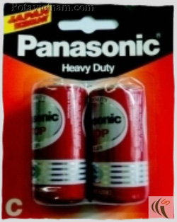 Ảnh số 33: Pin trung C, Pin thông dụng, Pin Carbonzinc, Pin Panasonic heavy duty R14DT/2B - Đỏ ( 1 Gói/ 2 Viên pin) - Giá: 15.800