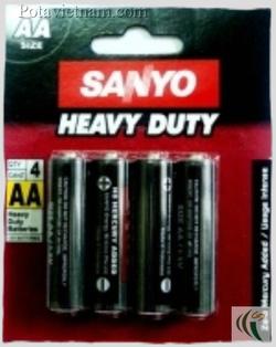 Ảnh số 37: Pin tiểu AA, Pin Carbonzinc, Pin thông dụng, Pin Sanyo heavy duty SSP-HC4AASP - Đen (1 Gói/ 4 Viên pin) - Giá: 14.500