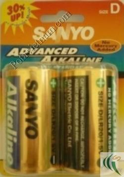 Ảnh số 47: Pin đại D, Pin thông dụng, Pin Alkaline Kiềm, Pin 1.5V, Pin Sanyo LR20/2BP (1 Gói/ 2 Viên pin) - Giá: 87.200