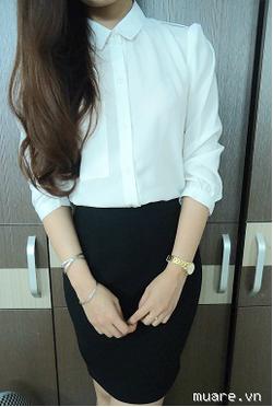 Ảnh số 87: áo sơ mi trắng có túi ngực mới về nè xinh lắm ạ , chất xịn - 300k - Giá: 300.000