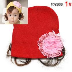 Ảnh số 54: Mũ len hoa kèm tóc giả - Giá: 50.000