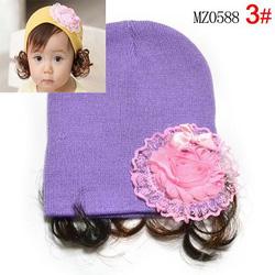 Ảnh số 56: Mũ len hoa kèm tóc giả - Giá: 50.000