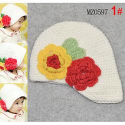 Ảnh số 71: Mũ len móc tay có vành kèm 2 bông hoa - Giá: 75.000