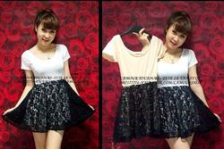 Ảnh số 29: Đầm tay ngắn váy ren - Giá: 200.000