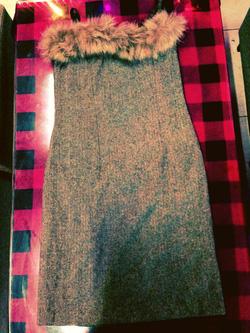 Ảnh số 19: váy quây lông có  dây có thể tháo 2 dây ra mặc như váy quây nhìn rất dễ thương màu ghi lông xịn, chất dạ dày dặn giá 190k - Giá: 170.000