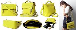Ảnh số 6: Túi HAPPY LANE màu vàng chanh 100% da thật rất tiện dụng. - Giá: 760.000