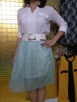 Ảnh số 51: Chân váy voan, đai thắt lưng, họa tiết chấm bi, có màu xanh và trắng - 60k - Giá: 60.000