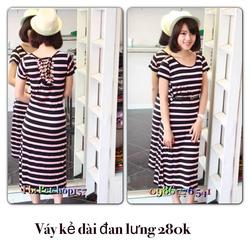 Ảnh số 32: Váy kẻ dài đan lưng 280k - Giá: 280.000