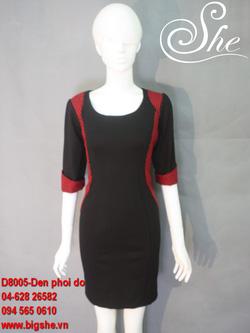 Ảnh số 14: Đầm công sở D8005 Đen phối đỏ - Giá: 800.000