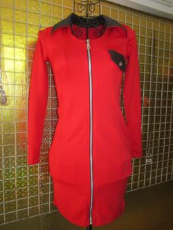 Ảnh số 26: Váy thun khóa kéo dài tay, cổ và nắp túi pha da, có hai màu đen và đỏ - 190k - Giá: 190.000