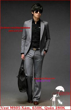 Ảnh số 28: Áo Vest Nam, Áo Vest Dior - NYQ MS05 Xám, Áo Vest Hàn, Áo Vest Cưới - Giá: 650.000