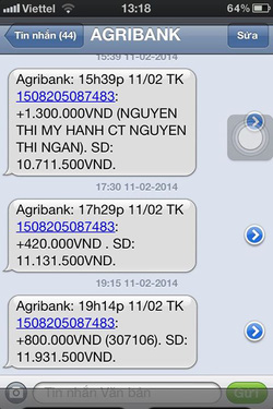 Ảnh số 22: SMS chuyển tiền của khách - Giá: 111.111