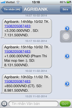 Ảnh số 32: SMS chuyển tiền của khách - Giá: 111.111