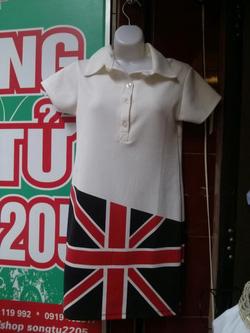 Ảnh số 28: Váy cotton dày dặn, cổ sơ mi, váy ngắn tay, cờ Anh - 150k - Giá: 150.000