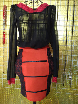 Ảnh số 39: Chân váy bút chì đỏ, pha ren đen, size S - 150k - Giá: 150.000