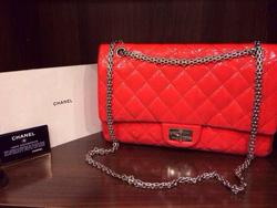 Ảnh số 10: MS TG15 : Túi Chanel dòng da nhăn, 2 nắp, đủ card + sổ, dây xích trắng, size Jumbo Giá : 65 triệu - Giá: 1.000