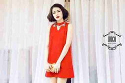 Ảnh số 3: Set liền váy suông đỏ - Giá: 430.000