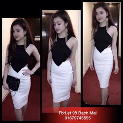 Ảnh số 65: Váy body yếm đen trắng chất umi dày dặn - Giá: 300.000