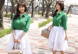 Ảnh số 87: SM924: Ivory, Green/ F - Áo sơ mi nữ công sở Hàn Quốc - Giá: 1.590.000