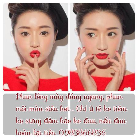 Phun thêu lông mày dáng ngang Hàn quốc, phun eye liner không đau, bắn màu chống thâm môi , nhũ hoa , phun môi pha lê , Ảnh số 31105533