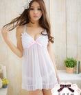 Váy ngủ màu trắng ngây thơ,cute,dễ thương voan thun,xinh xắn quyến rũ,