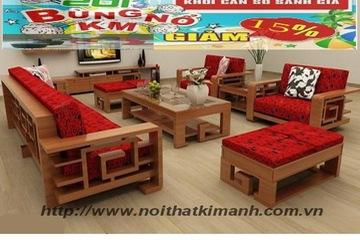 Sofa gỗ SG05, sofa gỗ Sồi tự nhiên giá khuyến mãi